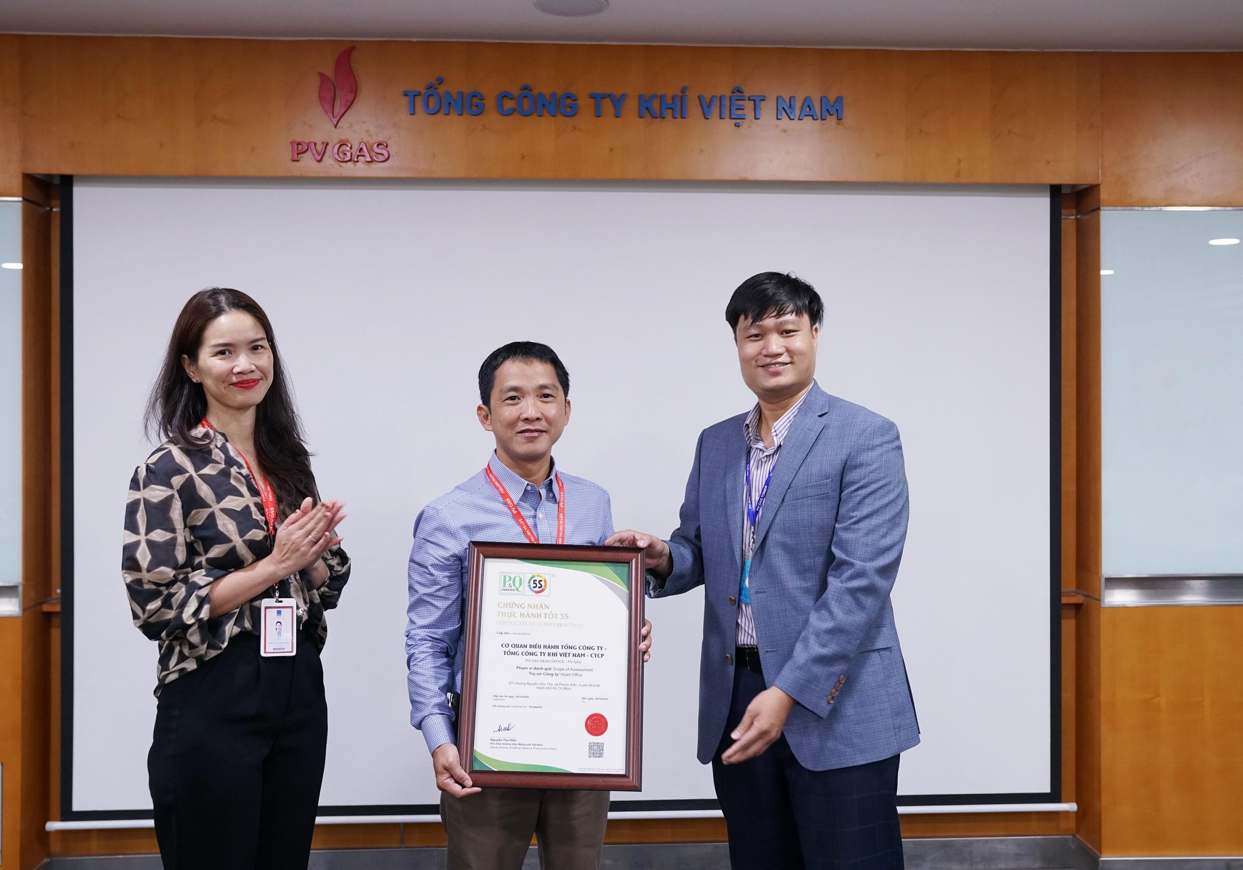 Được triển khai toàn diện và hiệu quả, thực sự đi vào thực tiễn. Tháng 10/2020, CQĐH TCT đã được Viện năng suất Việt Nam cấp chứng nhận thực hành tốt 5S cho Cơ quan Điều hành PV GAS