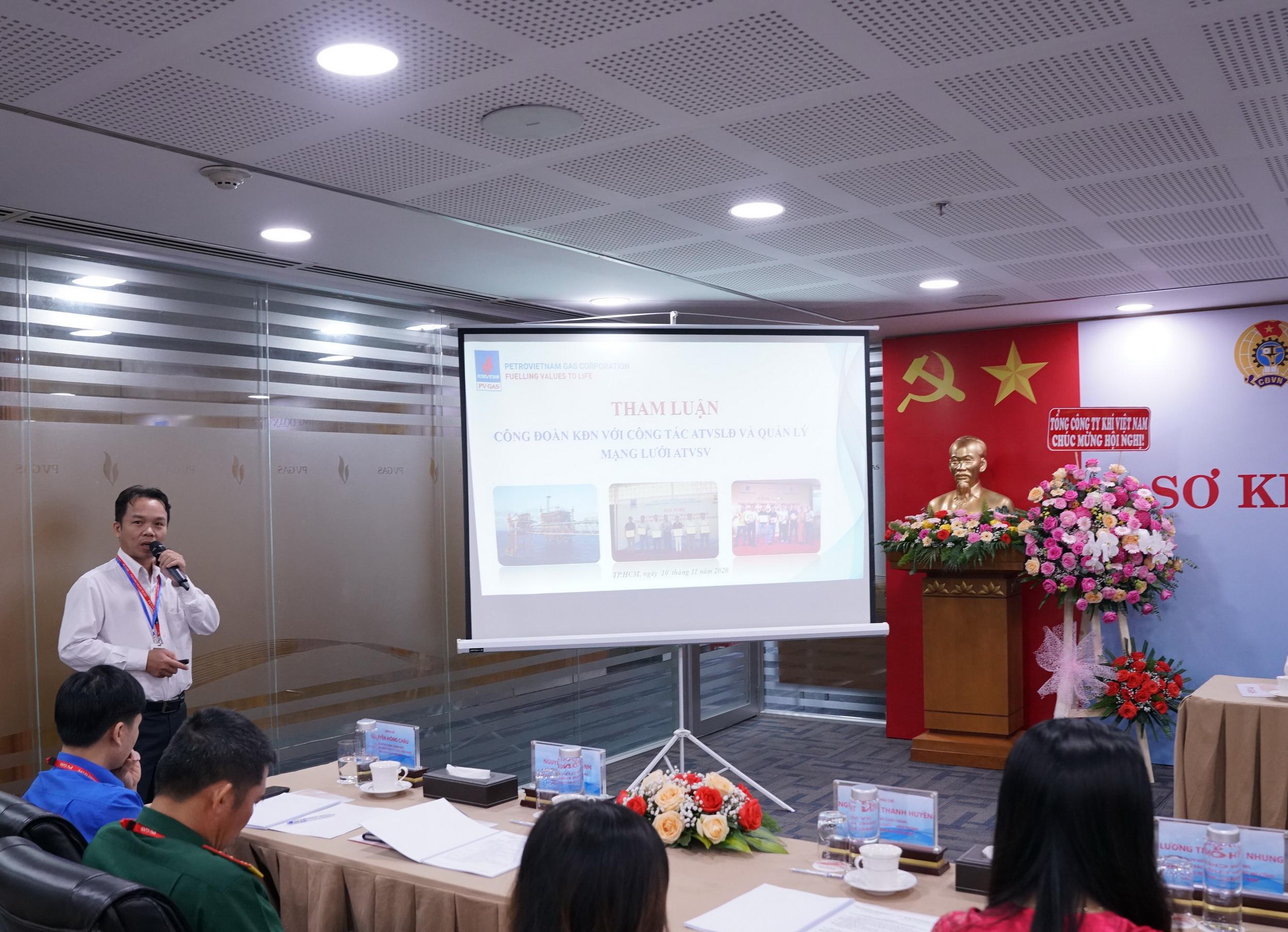 Đại diện Công đoàn KĐN tham luận về phong trào an toàn – vệ sinh – lao động