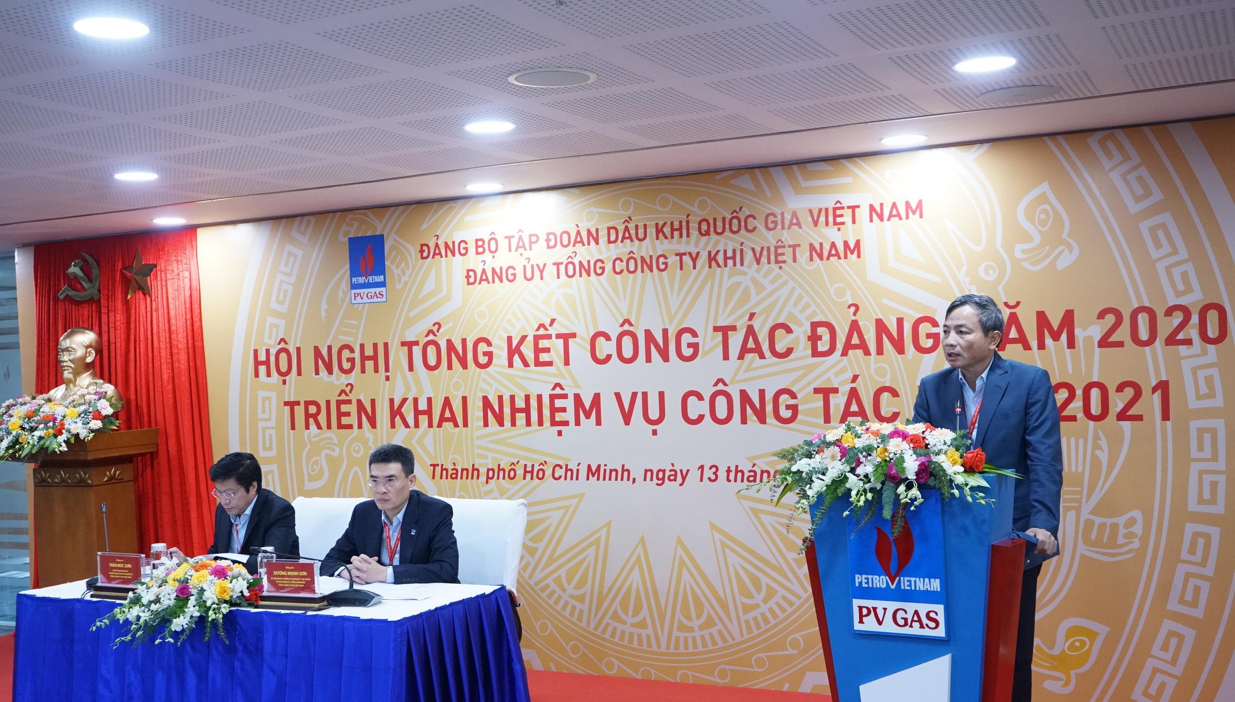 Chủ tịch HĐQT phát biểu nêu bật những thành tựu nổi bật của Đảng bộ PV GAS năm 2020