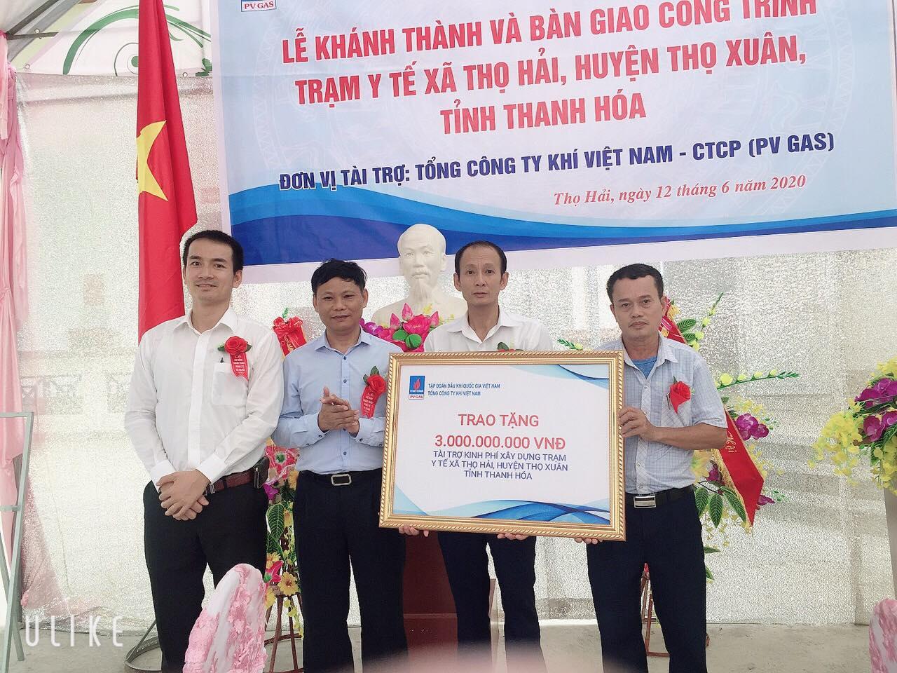 Nghi thức trao tặng 3 tỷ đồng do PV GAS ủng hộ xây dựng Trạm xá Thọ Hải